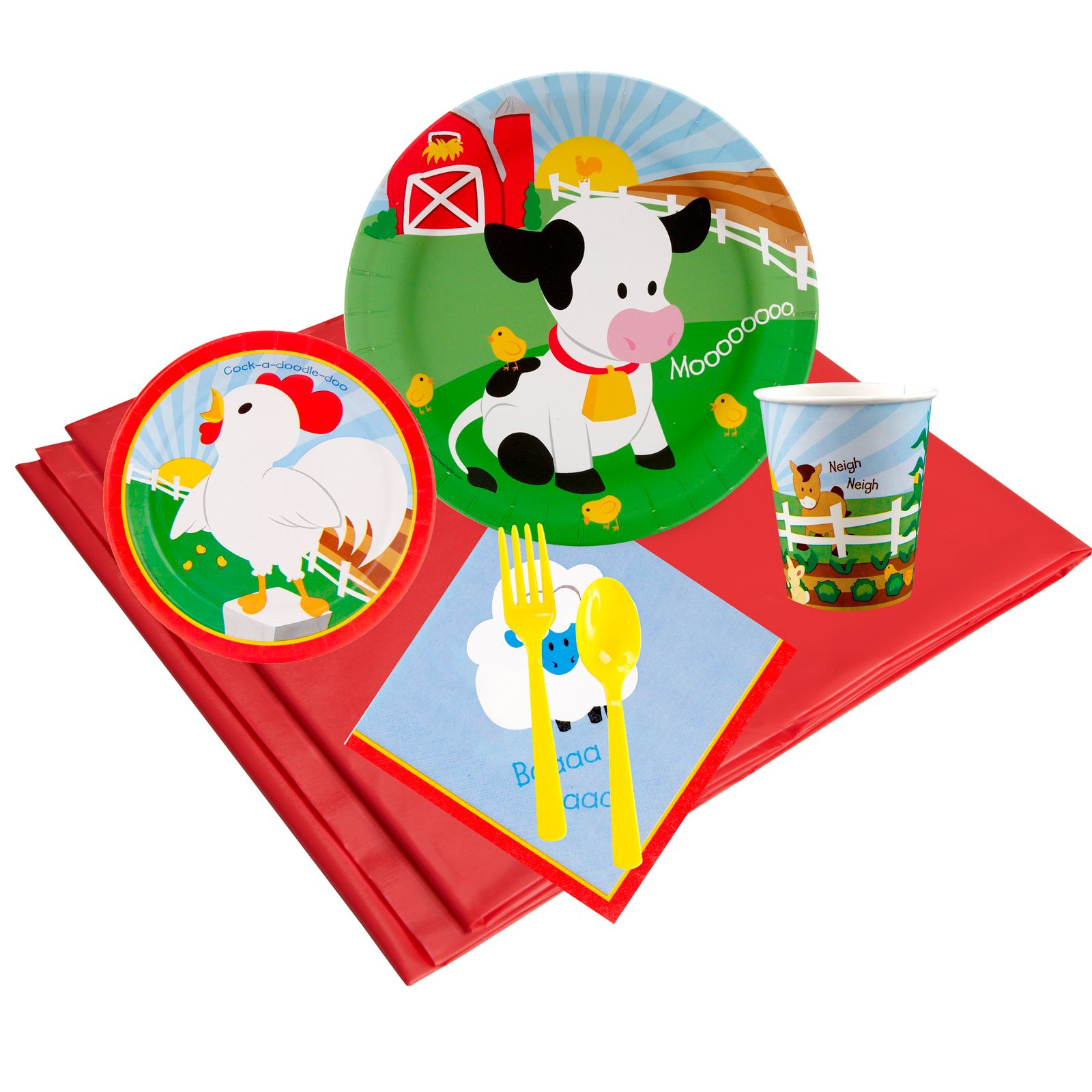 Barnyard Childrens Birthday Party Supplies - Tableware Party Pack (16)