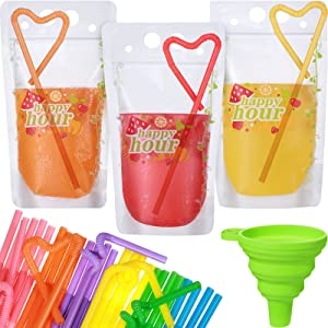 73 Pieces Zipper Plastic Drink Bags Disposable Drink Pouches Beverage Container Translucent Frosted Reclosable Stand-up Heat Proof Bag with Straws and Funnel for Smoothie, Cold and Hot Drinks