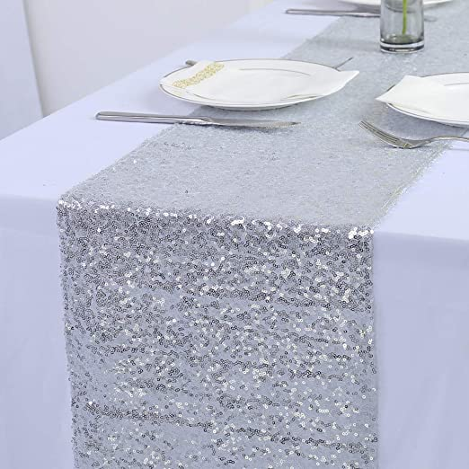 Glitter Sequin Satin Tablecloth 11.8 x 70.8 Inch Luxury Dining Table for Dinner Holiday Parties Table Runners for Parties Wedding Events 2 Pack