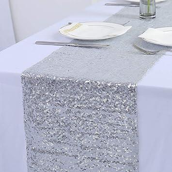 Zdada Champagne Table Runner,Glitter Fabric Table Runner,12x60 Sparkly Sequin Table Runner for Dinning