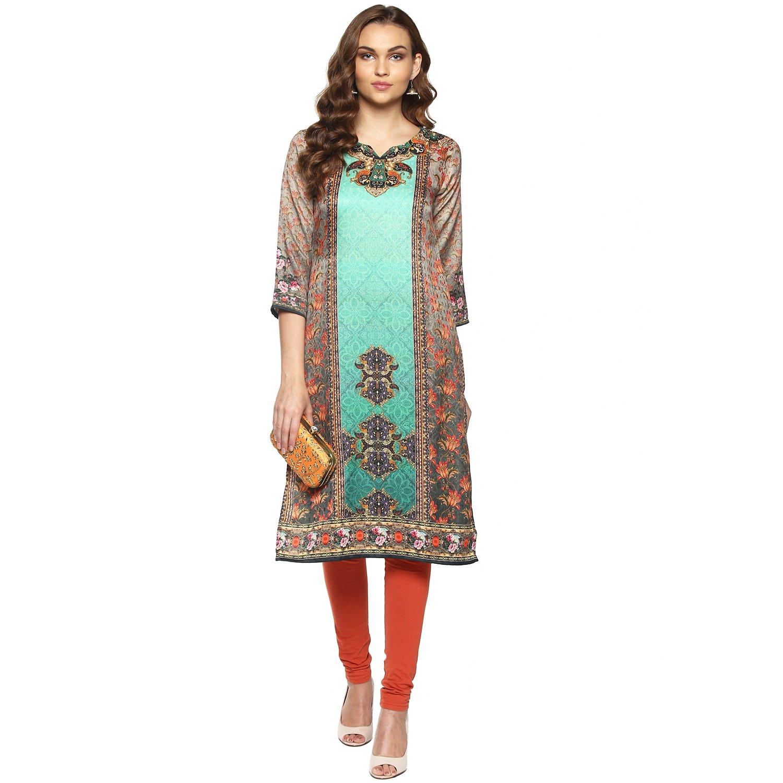 Lagi Kurtis Ethnic Women Kurta Kurti Tunic Digital Print Top Dress Casual Wear New Launch (Green)