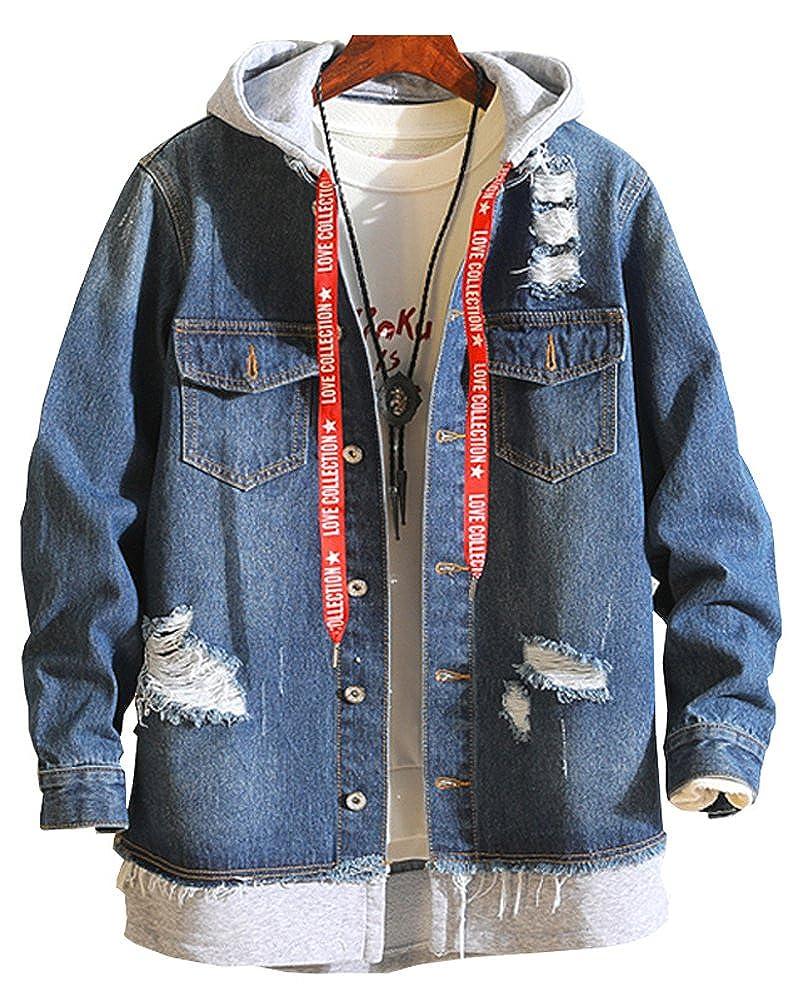 Hotmiss Men Ripped Hooded Denim Jacket with Drawstring