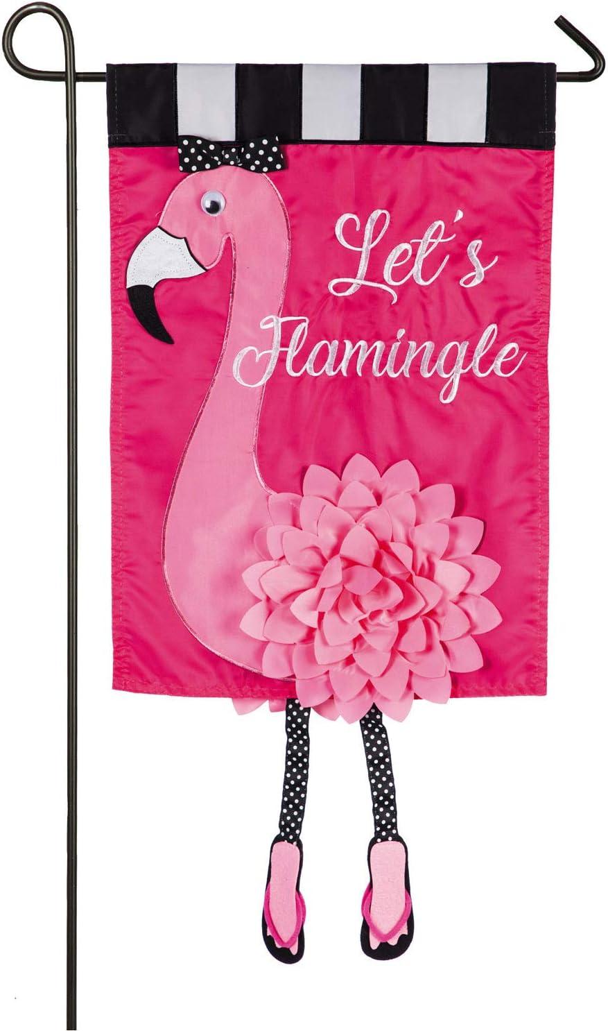 Evergreen Flag Let's Flamingle Applique Garden Flag - 12.5 x 18 Inches Outdoor Decor for Homes and Gardens
