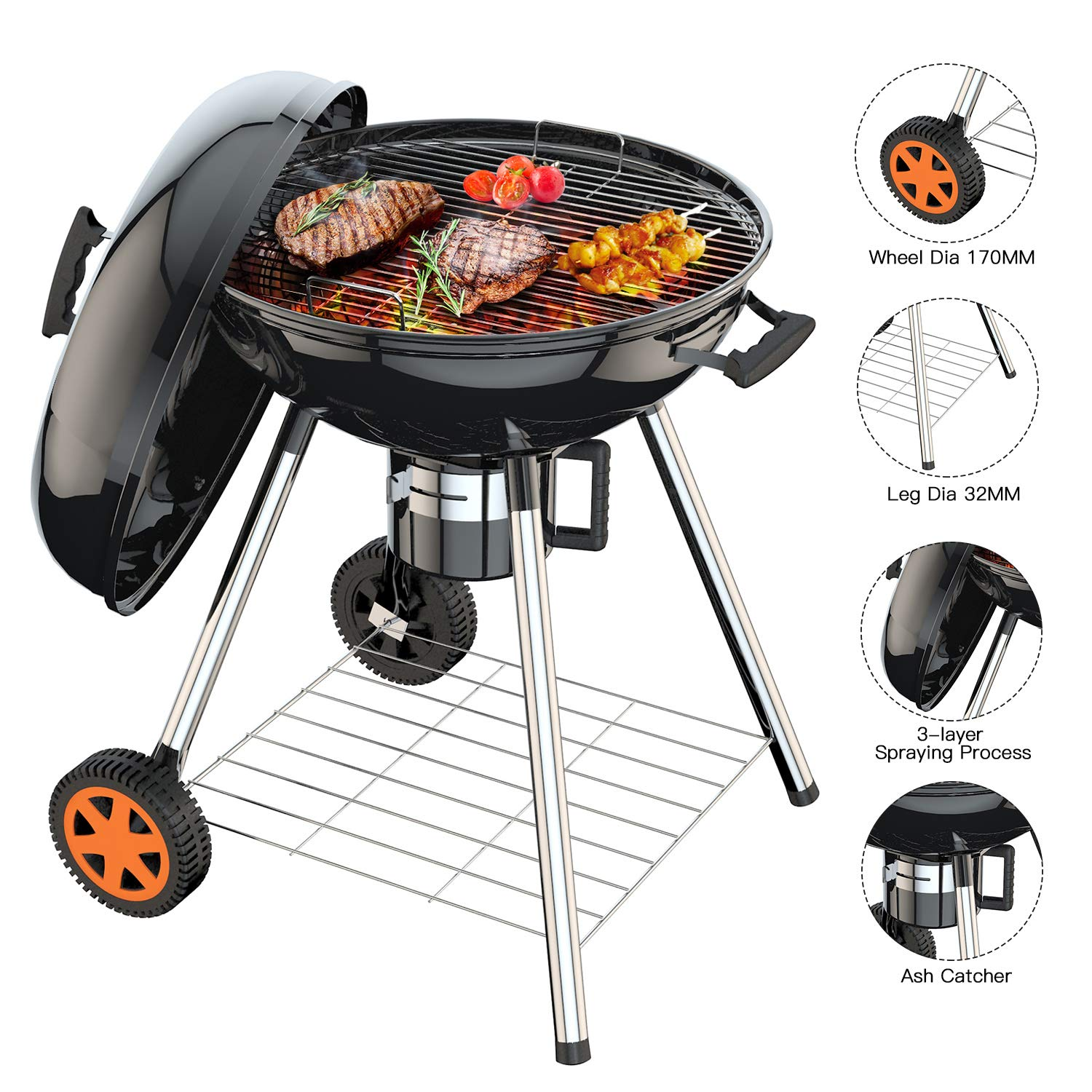 TACKLIFE 22.5 inch Large Charcoal Grill for Outdoor Grilling Barbecue, Camping Cooking, Portable BBQ Grill