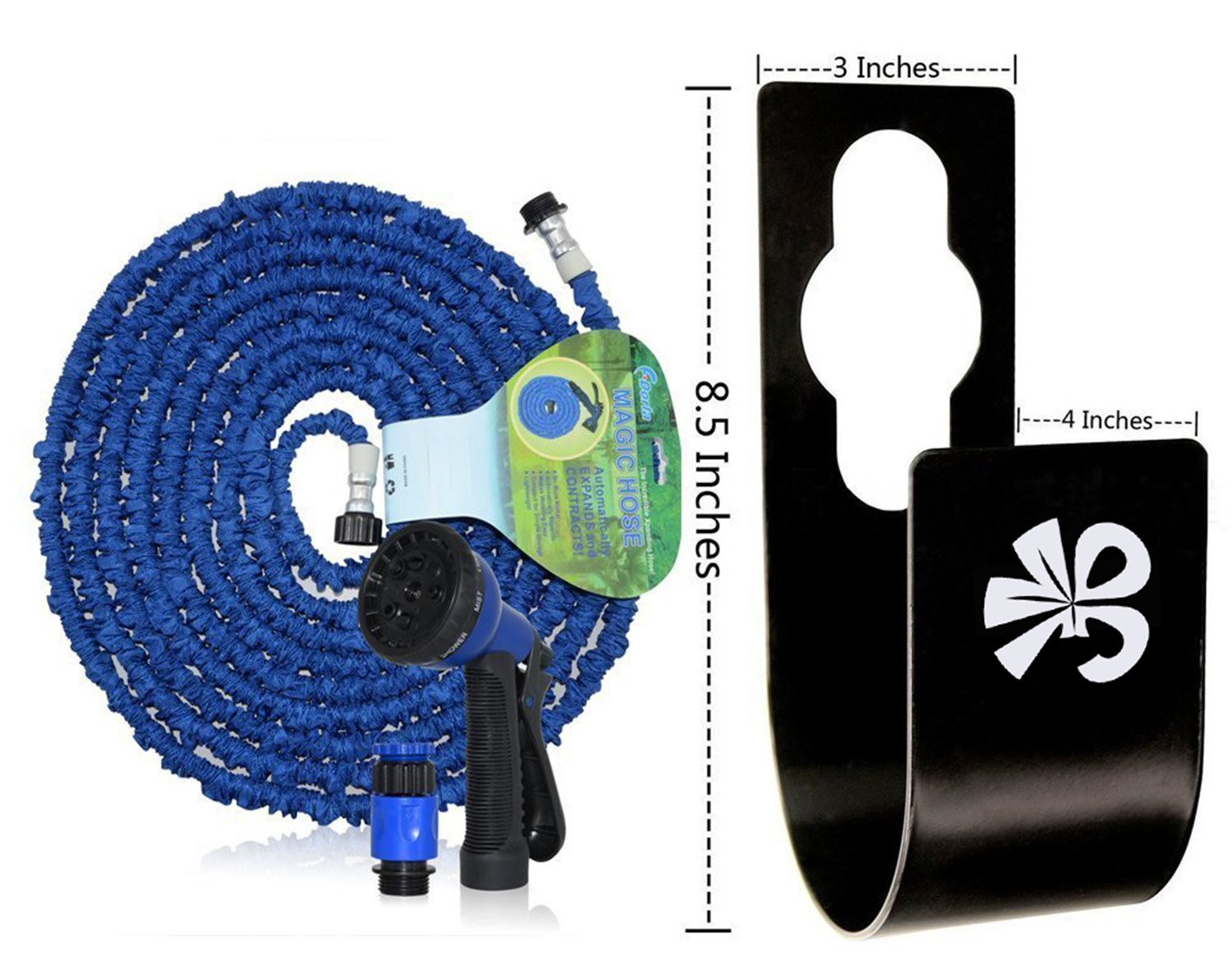 Garden Hose Holder wall mount-Durable and 30m/100ft Heavy Duty Long Lasting Steel Hose Hanger with faucet Conveniently store your hose using +2 screws -keep your backyard neat and clean