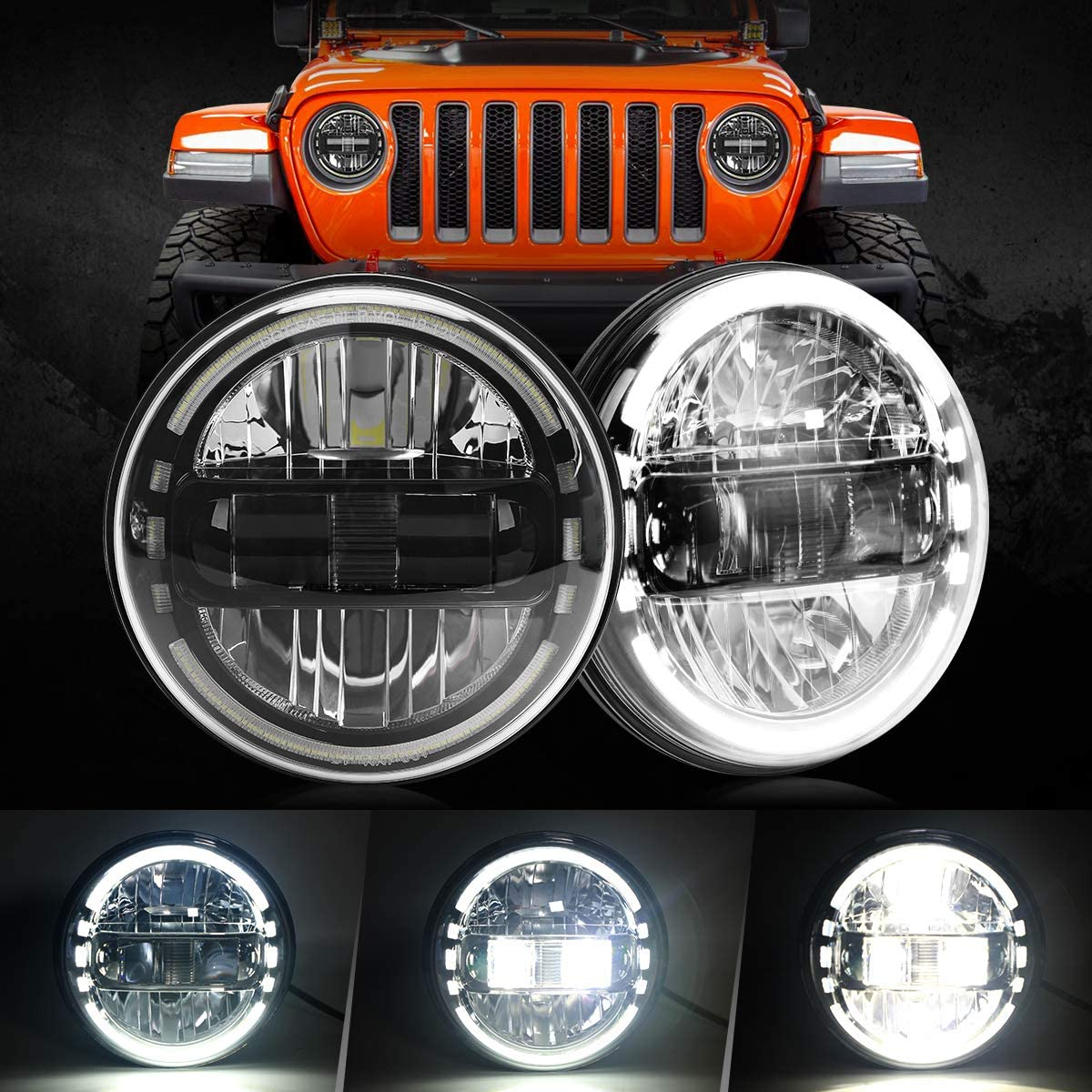 Amazon Com 2020 Newest 7 Inch Round Led Headlight Headlamps With Daytime Running Light Drl High Low Beam Compatible With Jeep Wrangler Jk Tj Lj 97 2018 Hummer H1 H2 Headlamps Black Automotive