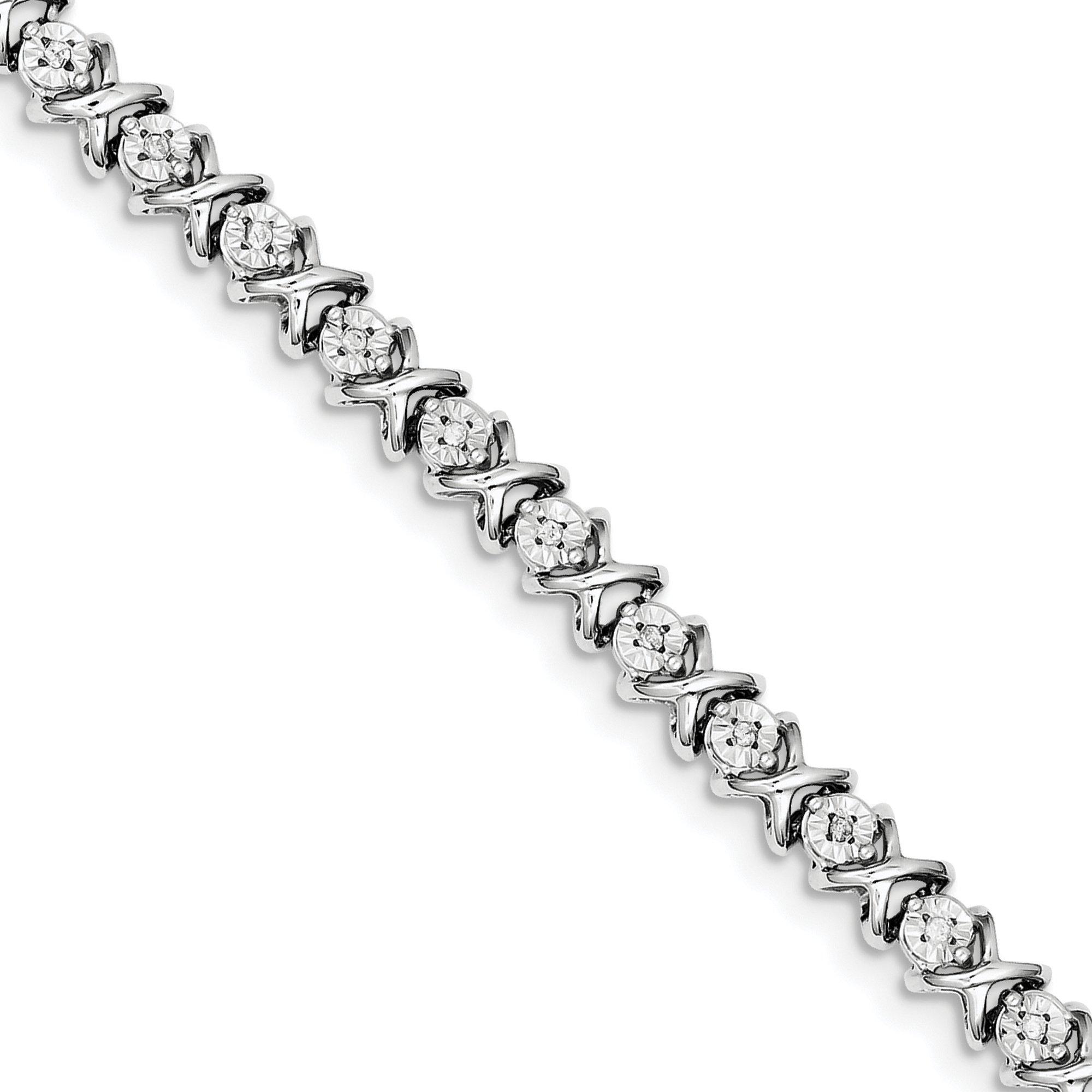 ICE CARATS 925 Sterling Silver Diamond X Bracelet 7 Inch Tennis Add-a- Hug Kiss Qd Fine Jewelry Gift Set For Women Heart