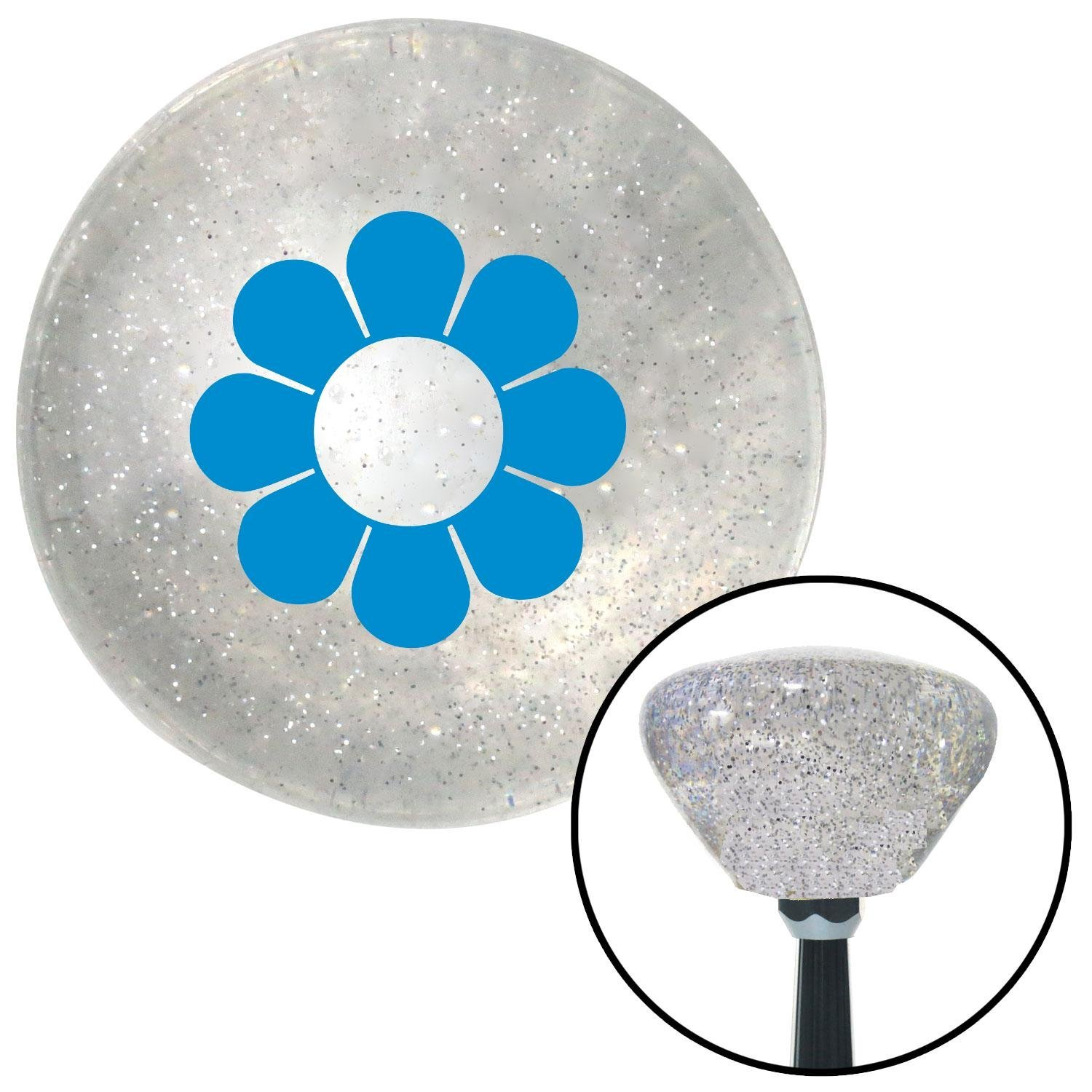 Blue Flower Power American Shifter 162021 Clear Retro Metal Flake Shift Knob with M16 x 1.5 Insert