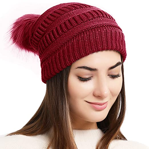Double Couple Women Winter Knit Hat with Pom Pom Thick Slouchy Beanie Hats  Ski Skull Cap 66c15a43d5a1