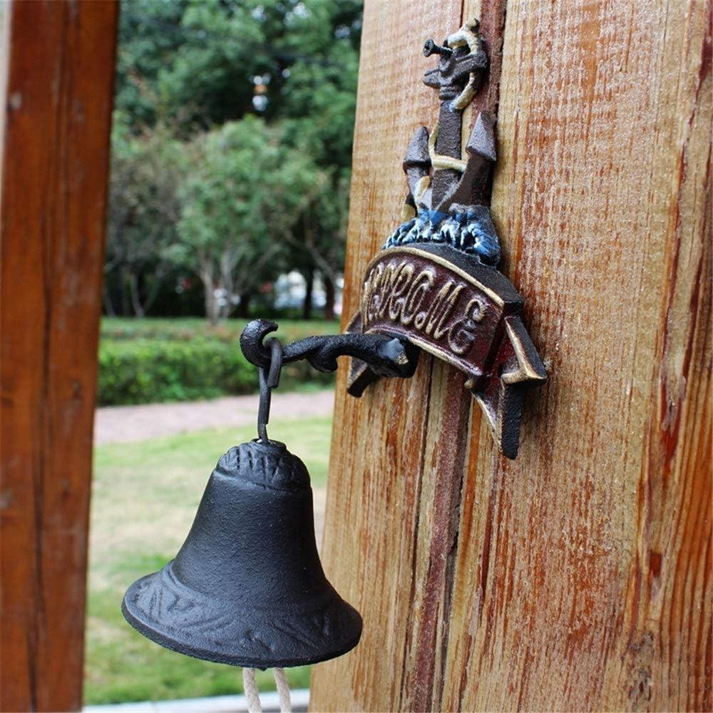 Kanqingqing Campana Decorada para Puerta Rústica de Hierro Timbre de la Puerta de Hierro Fundido Ancla Principal Adorno de jardín Mural Decoración de la Pared dDel Hogar del Jardín