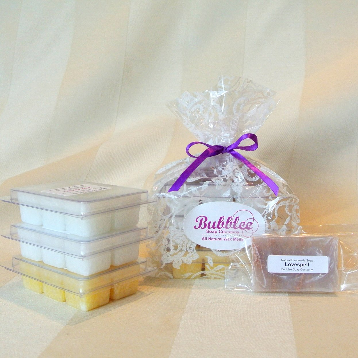 Non-GMO / Natural Aromatherapy Wax Melts Gift Set (3 Packs) - Lavender, Patchouli Lavender, Evergreen Lavender - Made with All Natural Non-GMO Vegetable Wax & Pure Essential Oils Bubblee Soap Co. LavenderWaxMeltSet