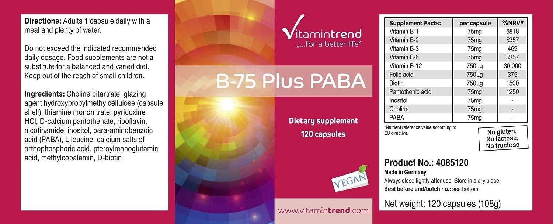 Vitamina B Complex – B–75 con PABA – Complejo de vitaminas B – Alta concentración – Vegano – 120 cápsulas