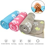 AK KYC 3 pack 40 x 28 '' Puppy Blanket Cushion Dog Cat Fleece Blankets Pet Sleep Mat Pad Bed Cover with Paw Print Kitten Soft Warm Blanket for Animals, (40in * 28in, 3 x Bone)