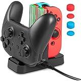 Joy-Con プローコントローラー 充電スタンド KetenTech(ケテン) Joy-Conシリコンカバー付 ジョイコン 4台同時充電 ニンテンドー スイッチ Joy-Con4台 Proコントローラー1台 Nintendo switch充電ホルダー チャージャー 急速充電