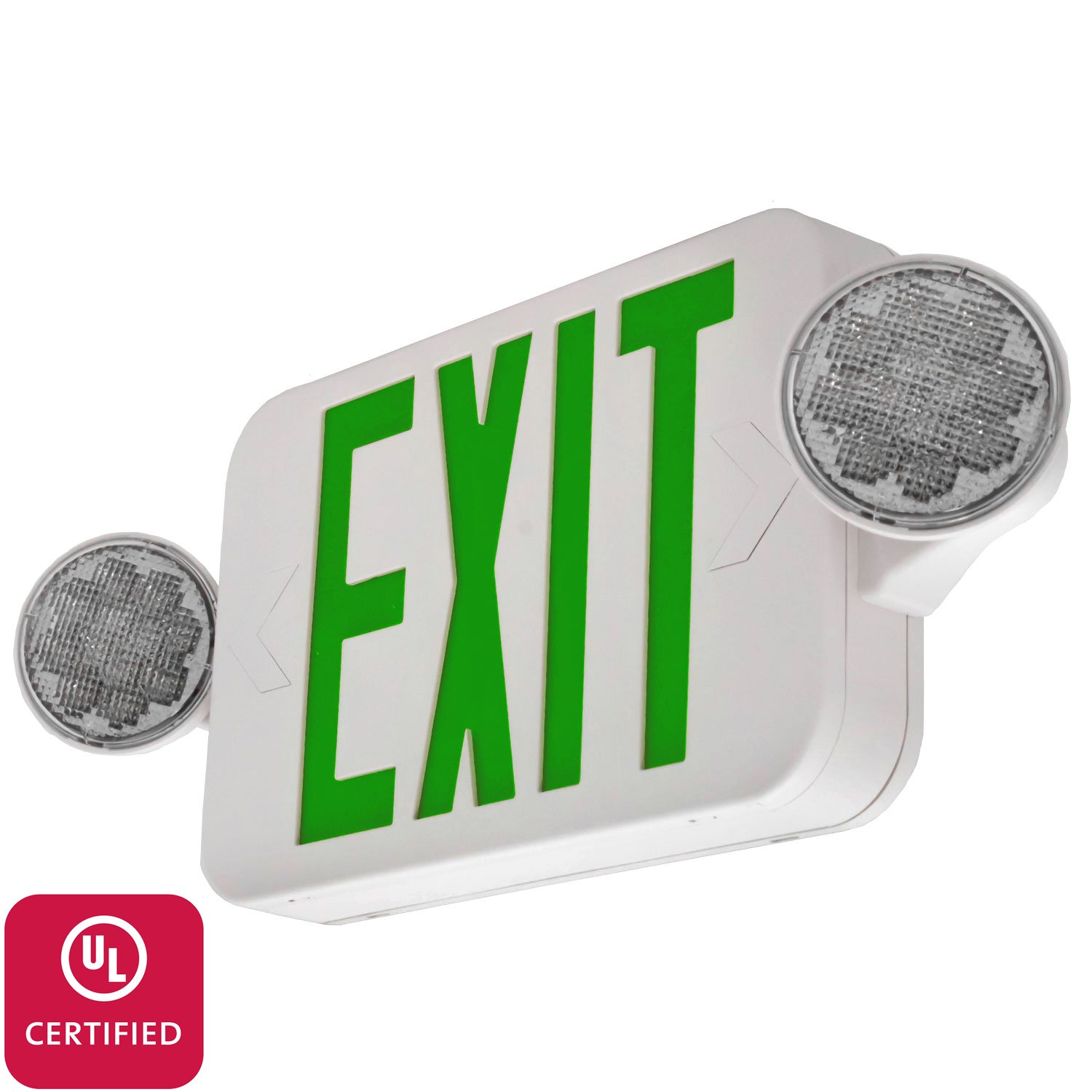 LFI Lights - UL Certified - Hardwired Green Compact Combo Exit Sign Emergency Light - High Output- COMBOGJR2
