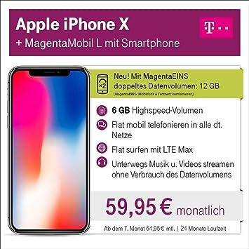 Apple Iphone X Mit 64 Gb Internem Speicher Mit Telekom Amazonde
