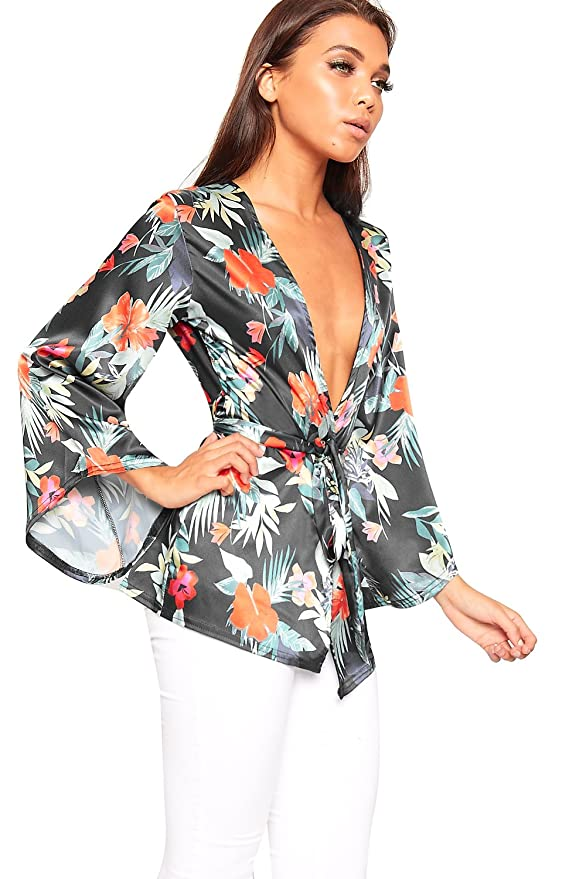 9d1a838014 WearAll Women s Floral Print Satin Long Kimono Flare Sleeve Top Ladies  Blazer Open Belted - Black - 12  Amazon.co.uk  Clothing