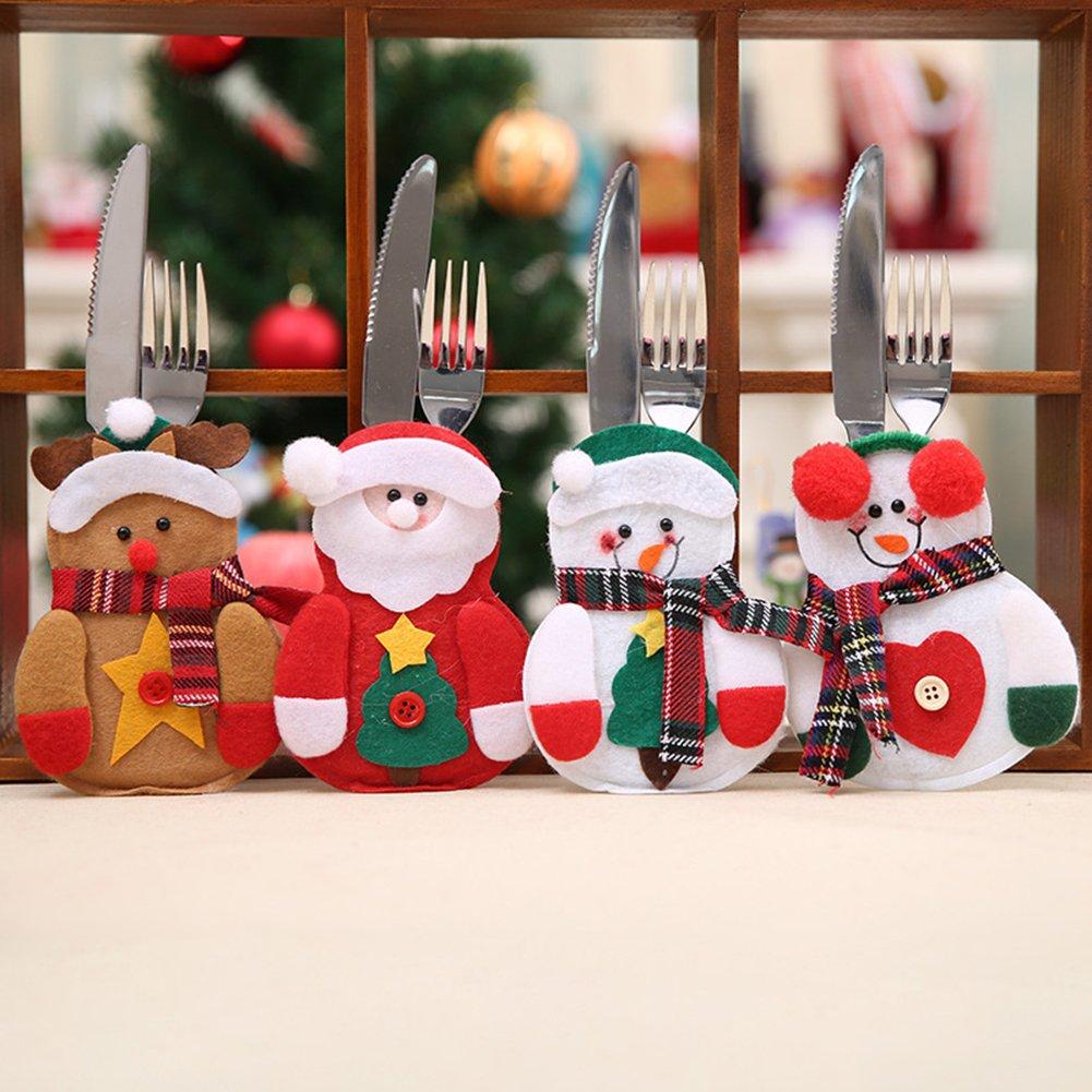 CHoppyWAVE Cutlery Pouch, Santa Claus Pattern Cutlery Holder Utensil Bag Fork Knife Pocket Xmas Decoration - A6-2-1 Tree Santa Claus by CHoppyWAVE (Image #2)
