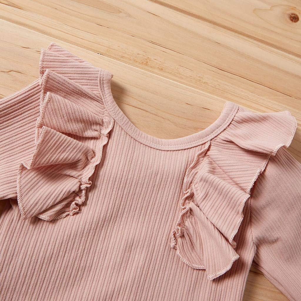 for 0-24 Months Newborn Infant Baby Girls Outfits Clothes Set Solid Frill Romper+Floral Print Pants+Headband Outfit Clothing Set 3pcs