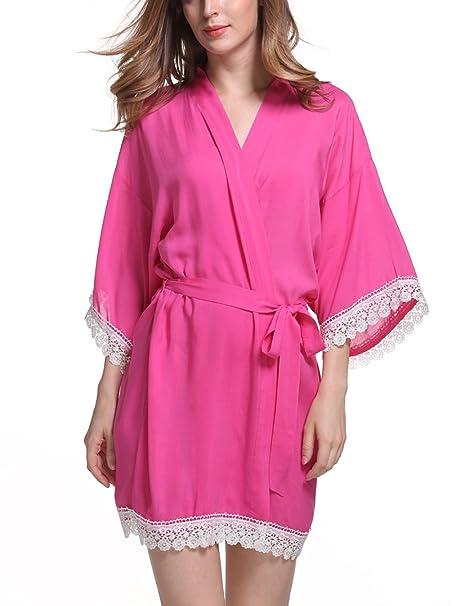 Feoya - Bata Kimono con Cinturón Encaje para Mujer Color Puro Larga Ropa de Dormir -