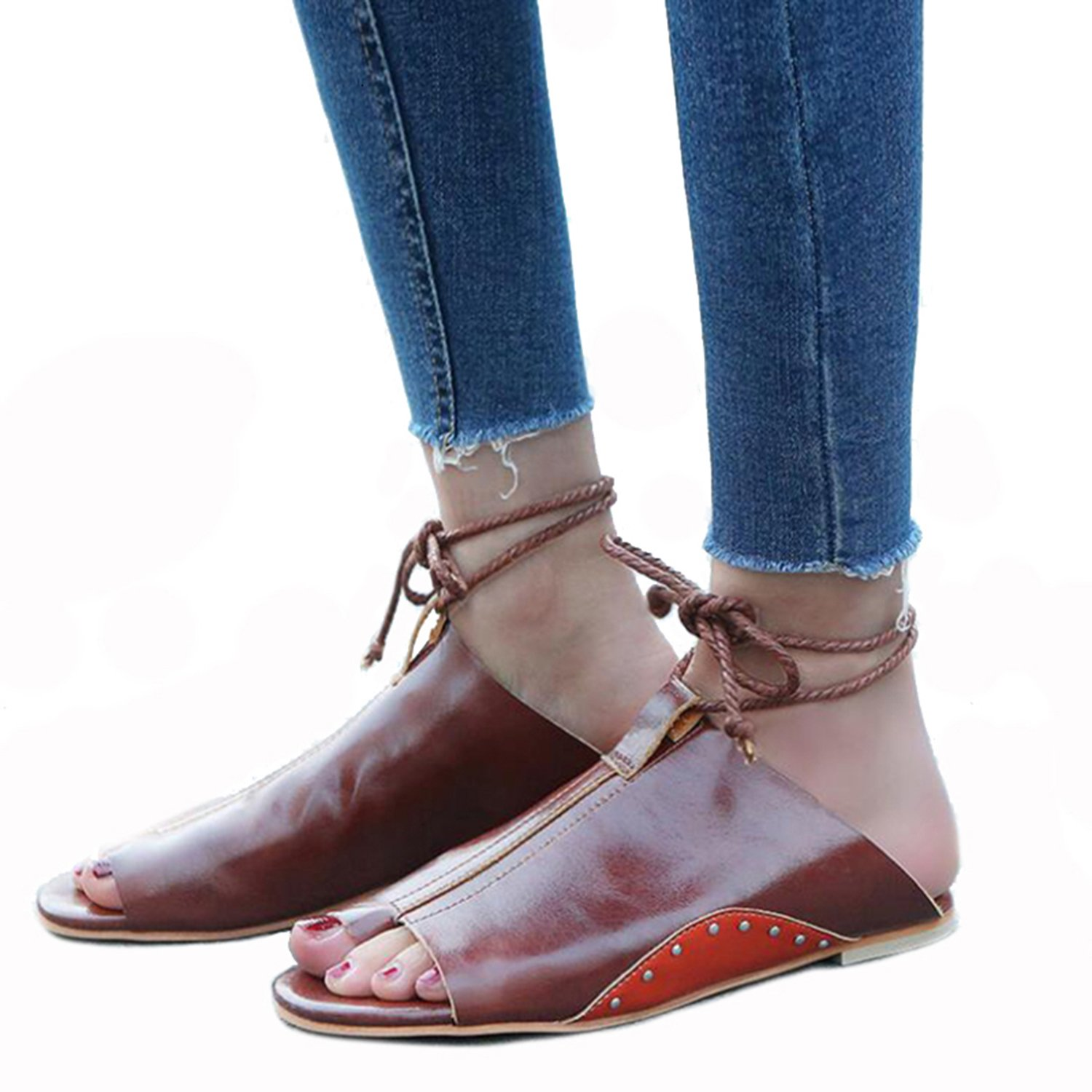 Yamed 2018 Ankle Strap Womens Sandals Vintage PU Leather Rivets Flip Flops Lace Up Ladies Summer Casual Flat Shoes