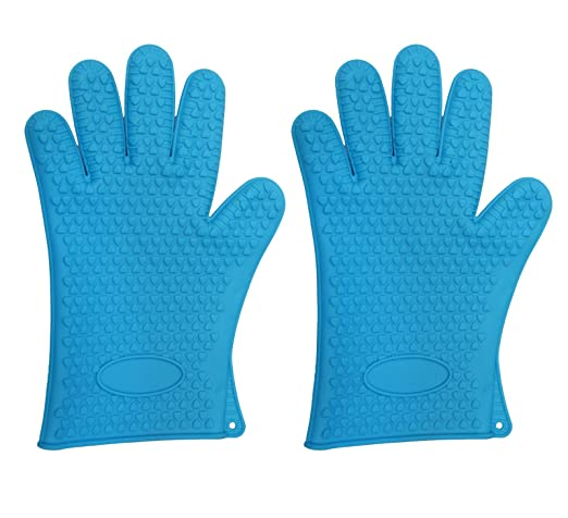 Lifestyle-You™ Heat Resistant Insulated & Textured Non-Slip Silicone Hand Gloves with Five Fingers (2 Pc) - For BBQ Grills, Ovens, Kitchen Accessory, Baking Tool.