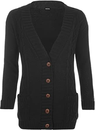 0db8756545 WearAll Women s Cable Knitted Button Cardigan Ladies Long Sleeve Boyfriend  Top - Black - US 4