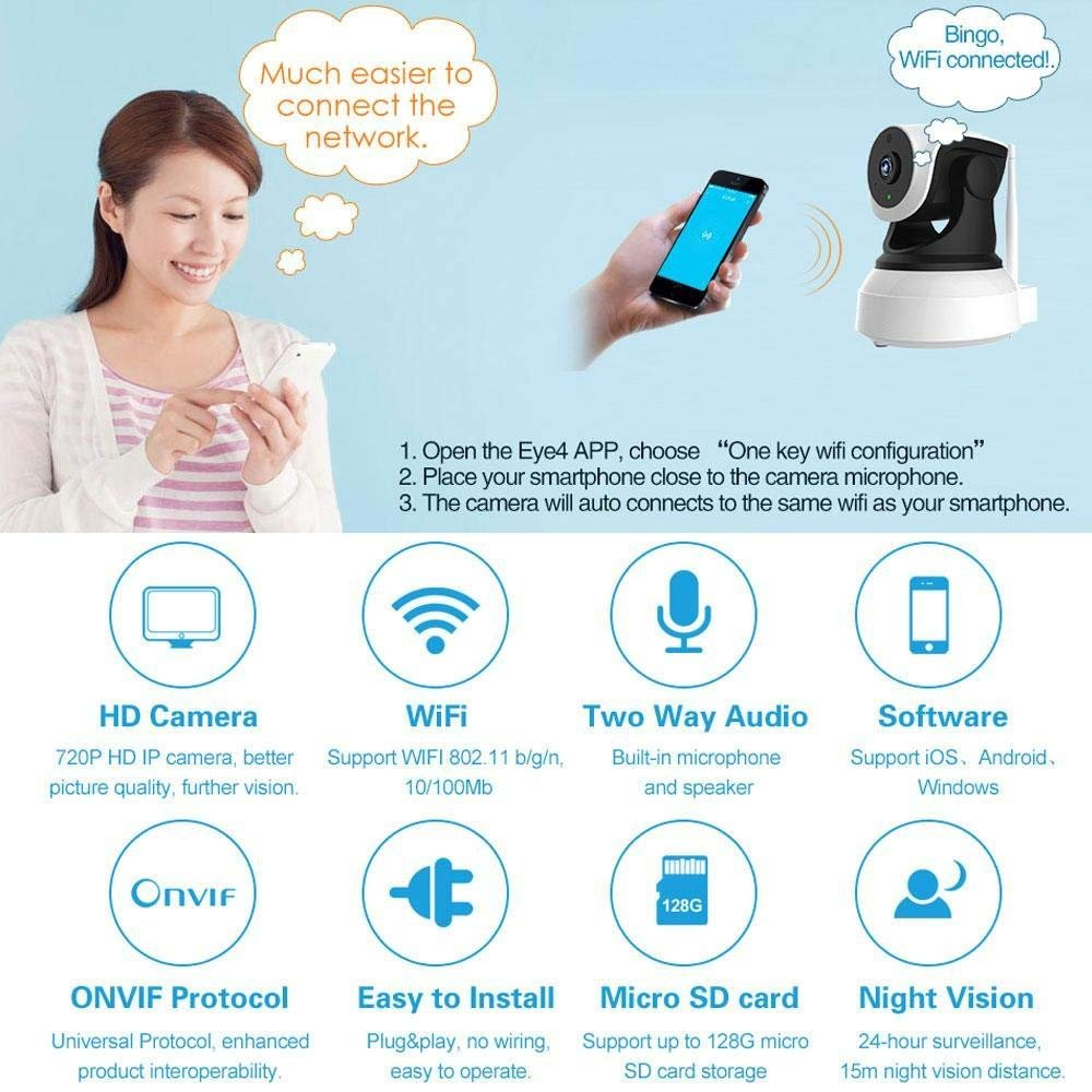 ZZY Wi-Fi Security Camera For Home, IP Network Wireless Cam HD CCTV Surveillance Webcam System With Auto/Pan/Tilt/Zoom/Night Vision Remote/ by ZZY (Image #4)