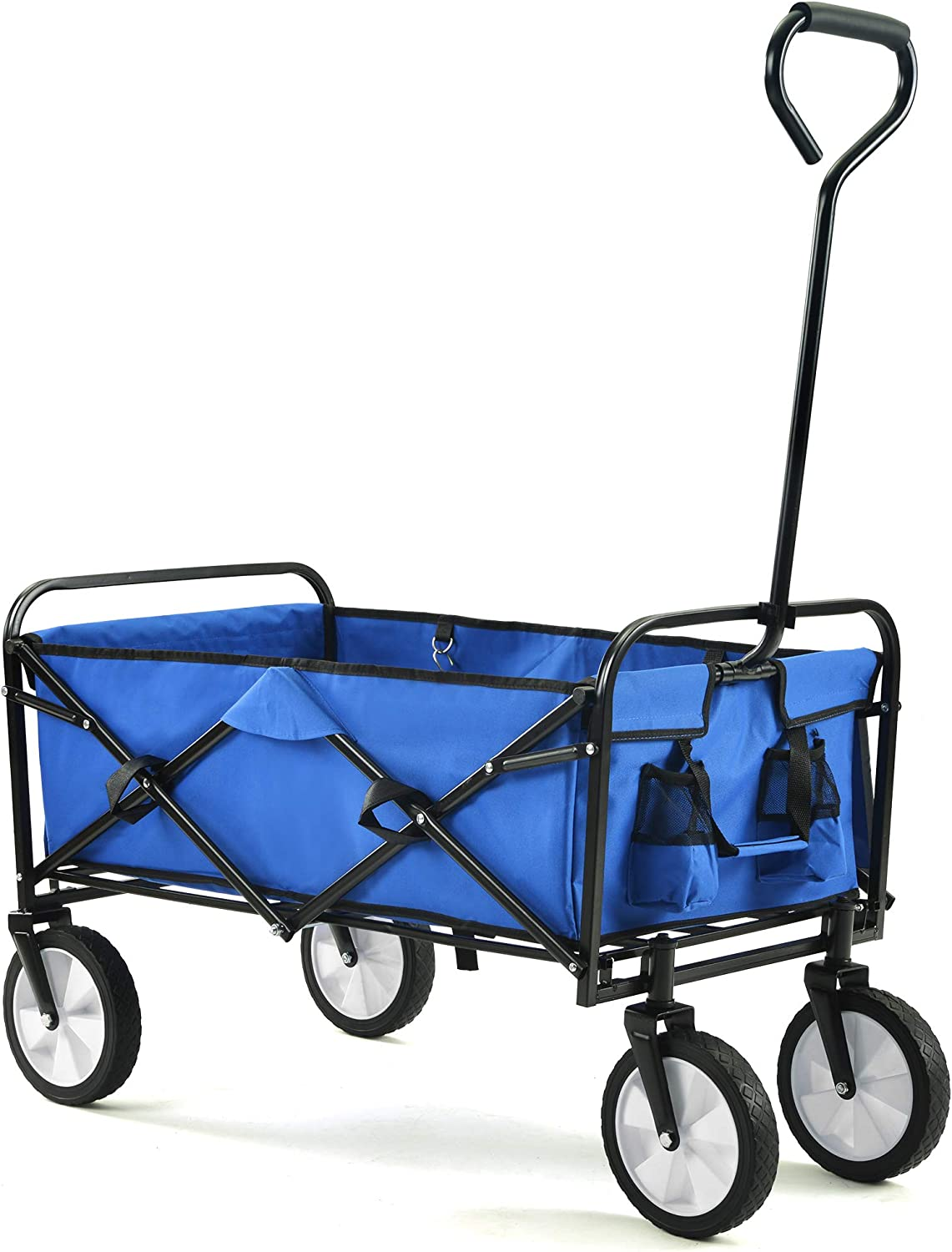 Sincin Folding Wagons with Wheels Collapsible Compact Outdoor Garden Camping Cart Removable Fabric, Blue (Blue)
