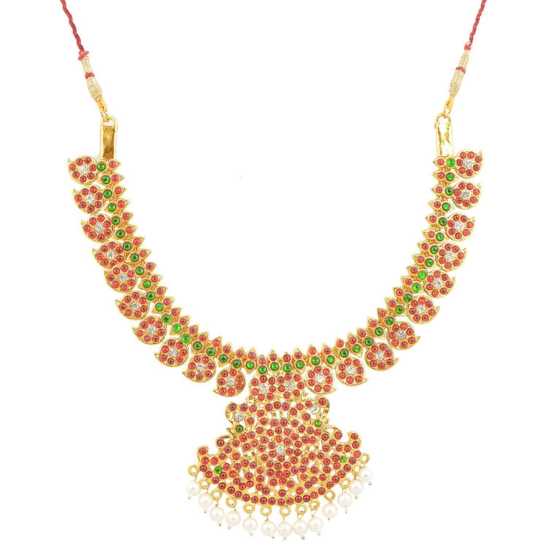 Buy Gold Plated Half Mango Kempu Necklace Haram Jewellery Set