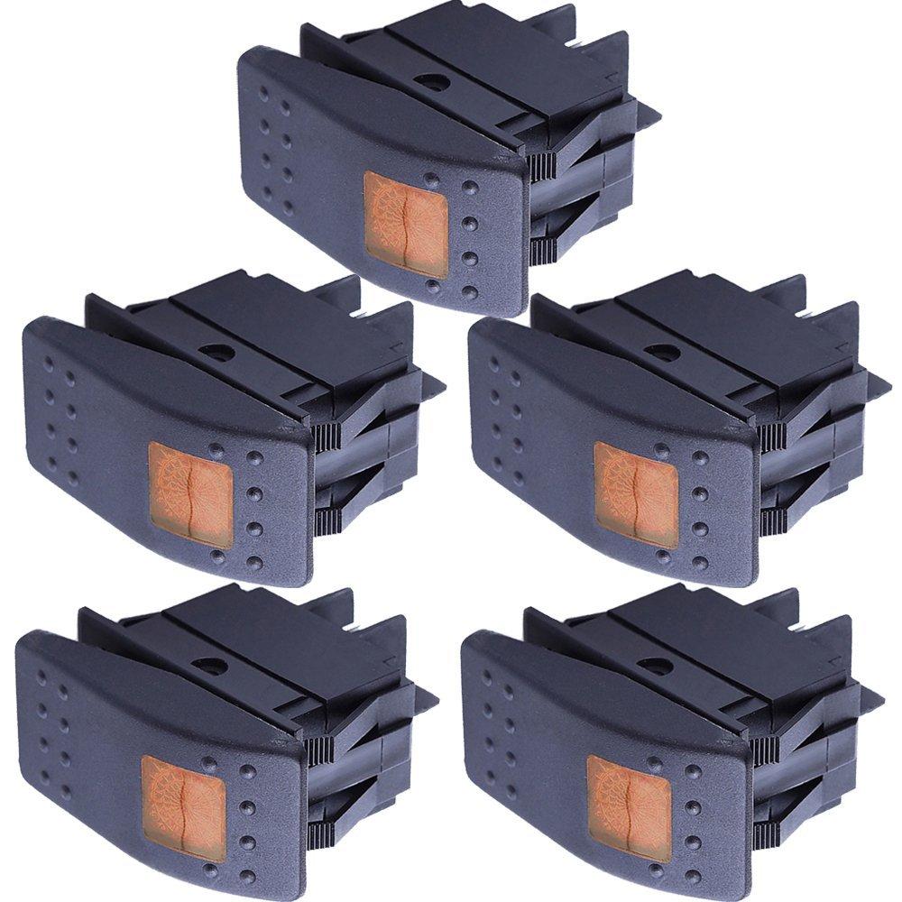 Mintice™ 5 X KFZ Auto Kippschalter Druckschalter Schalter Wippschalter Wasserdicht 12V 20A Gelb LED Licht Lampe 4Pin AN/AUS