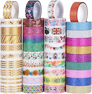 TOYMYTOY 40 Rolls Washi Tape Set,Decorative Washi Masking Tape for Scrapbook DIY Crafts and Gift Wrapping