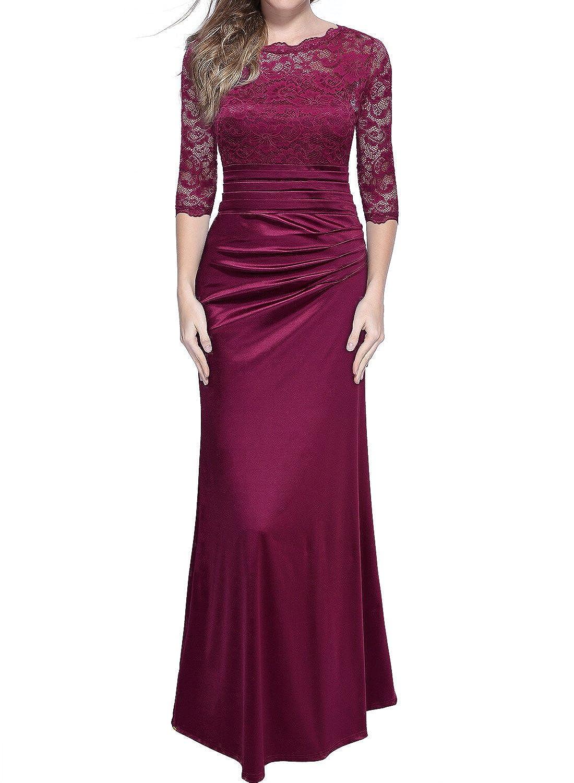 Miusol Damen Cocktail Spitzen Lang Kleid Elegant Brautjungfer Abendkleid