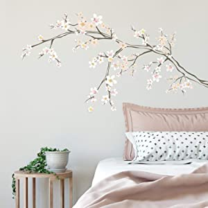 RoomMates Cherry Blossom Branch Peel And Stick Giant with 3D Embellishments,Pink, White, Peach