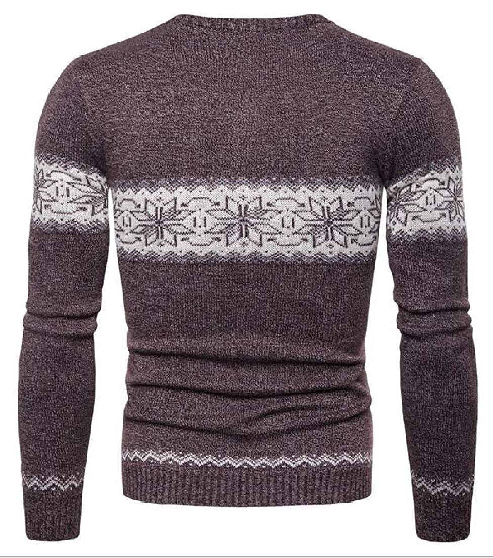 Generic Mens Slim Fit Cable Knitted Long Sleeve Crew-Neck Sweater