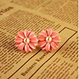 HuaYang Sweet Lovely Pink Daisy Flower Pearl 1 Pair