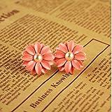 HuaYang Sweet Lovely Pink Daisy Flower Pearl 1 Pair Earrings