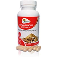Ashwagandha Capsules Indian Ginseng (120 capsules) Ayruvedic Organic GMO free - for Stress/Anxiety, Adrenal Fatigue - Energy