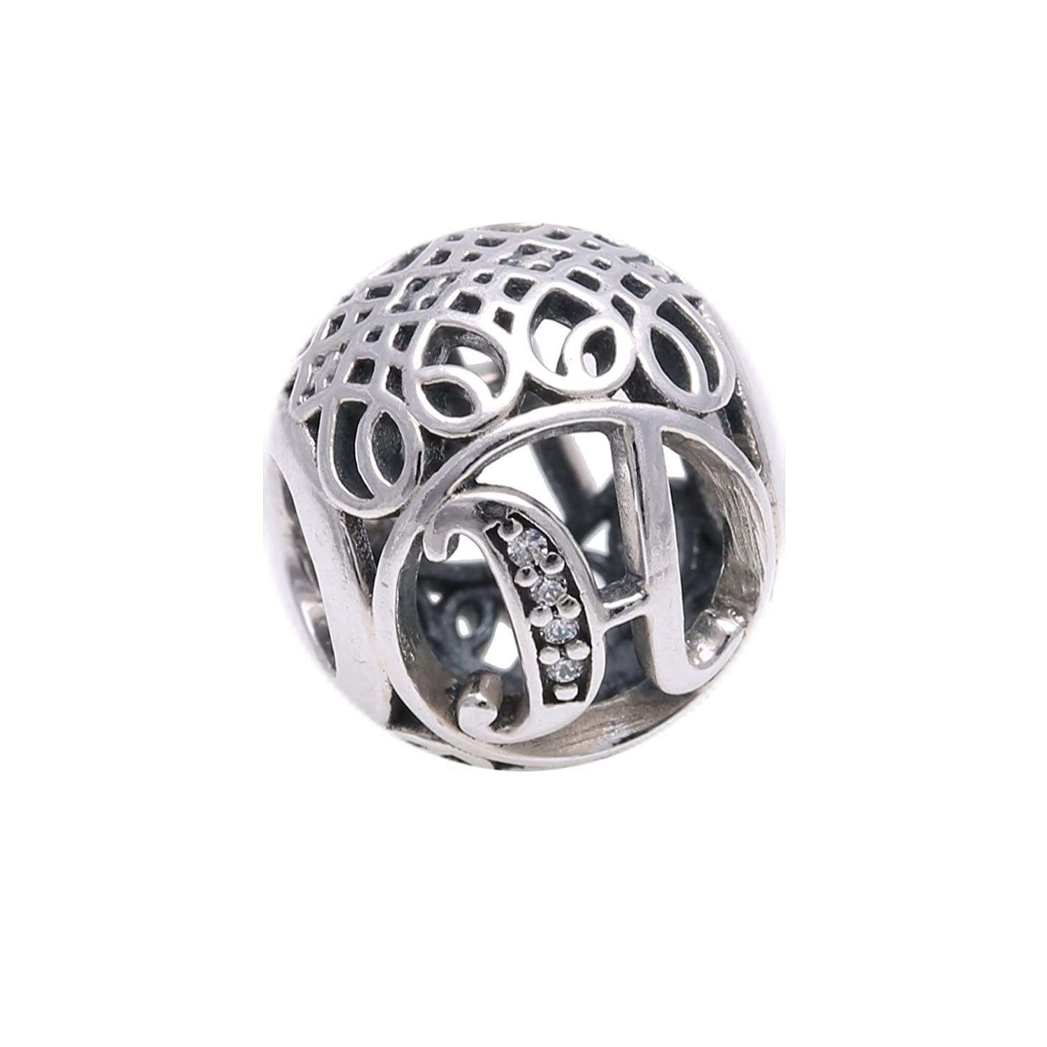 98e14ecf4 Amazon.com: PANDORA 791852CZ Sterling Silver Letter H Charm with Cubic  Zirconia: Jewelry