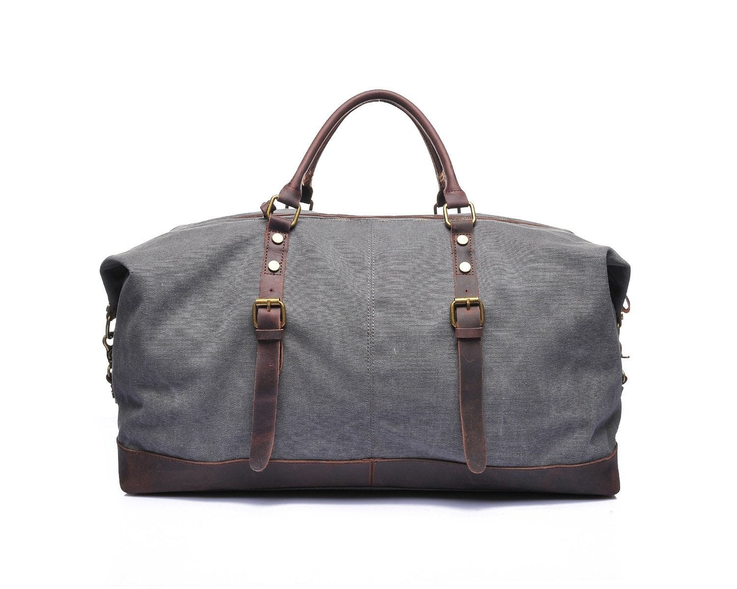 Color : Gray, Size : L DAYIYANG Special Design Mens Retro Travel Bags Crazy Horseskin Embroidery Shoulder Bags Bags Canvas Bags