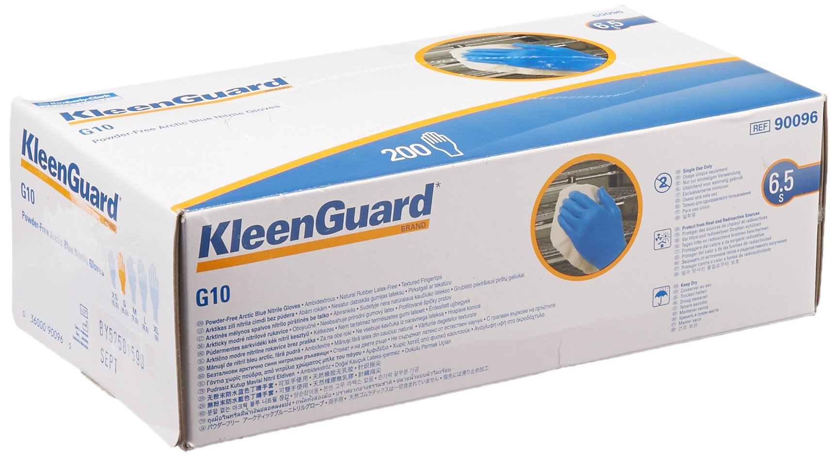 Kimberly Clark Safety 90096 KLEENGUARD G10 Arctic Blue Nitrile Glove, Small (Pack of 200)