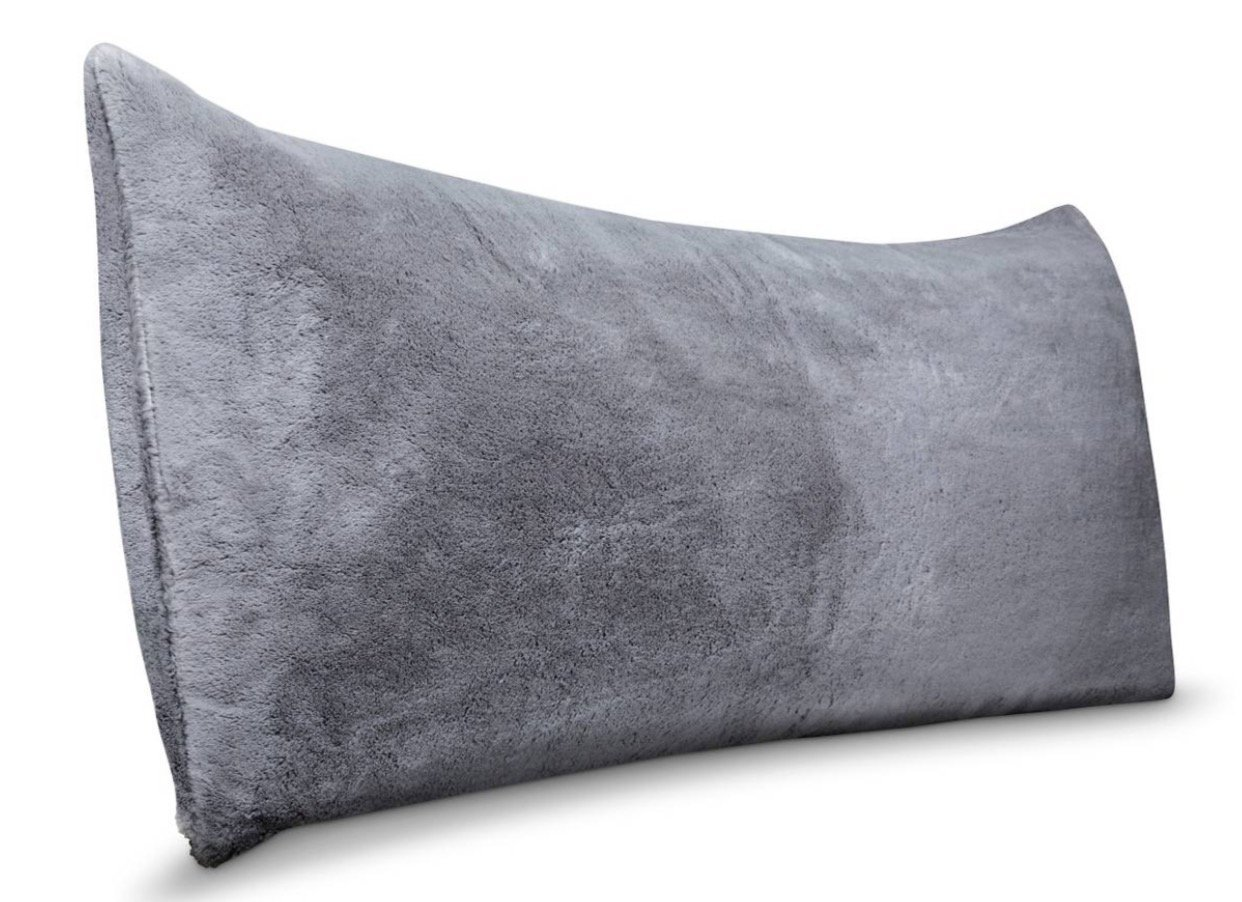 Body Pillow Cover Grey Faux Fur Super Soft- 20 in x 50 in