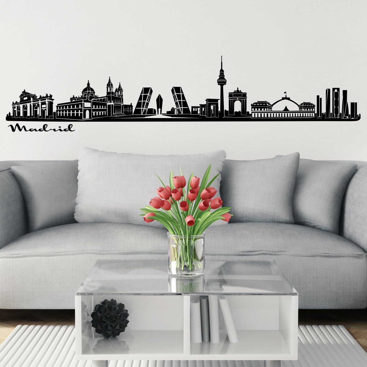 Wandkings Skyline Wall Sticker Wall Decal - 48 x 10 inch in Black - Your City Selectable - Madrid