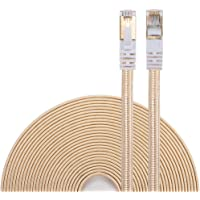 DanYee Ethernet Cable Cat 7 Flat High Speed Nylon Lan Network Patch Cable Gold Plated Plug STP Wires CAT 7 RJ45 Ethernet Cable 0.5M 1M 2M 3M 5M 8M 10M 15M 20M 30M (3M, Gold)
