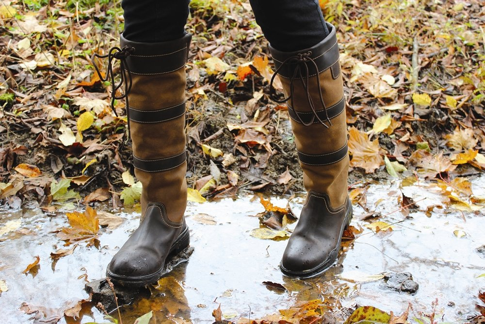 TuffRider Women's Lexington Waterproof Tall Boots - 6'' Shaft, Contrasting Suede - Chocolate/Fawn - 8 by TuffRider