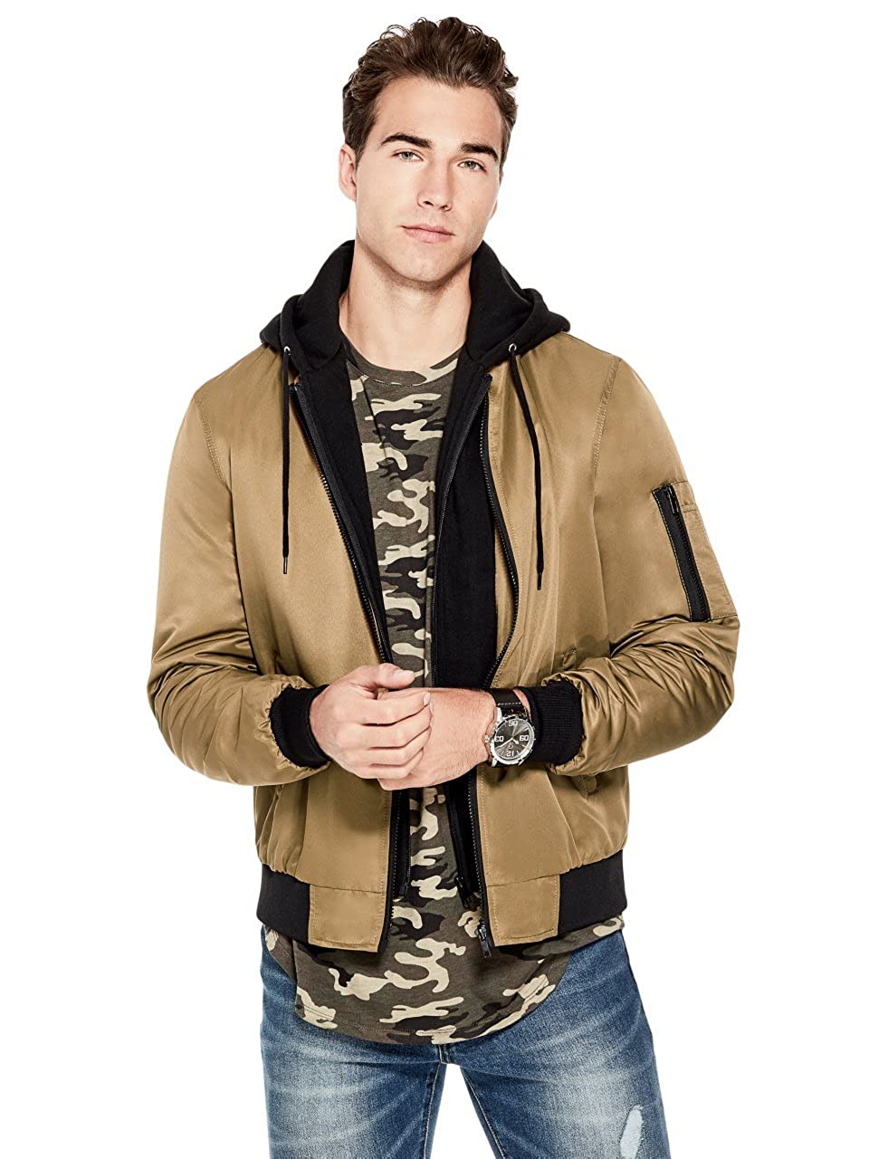 G by GUESS Men's Andrei Hooded Bomber GByGUESS Z8FL02RB830