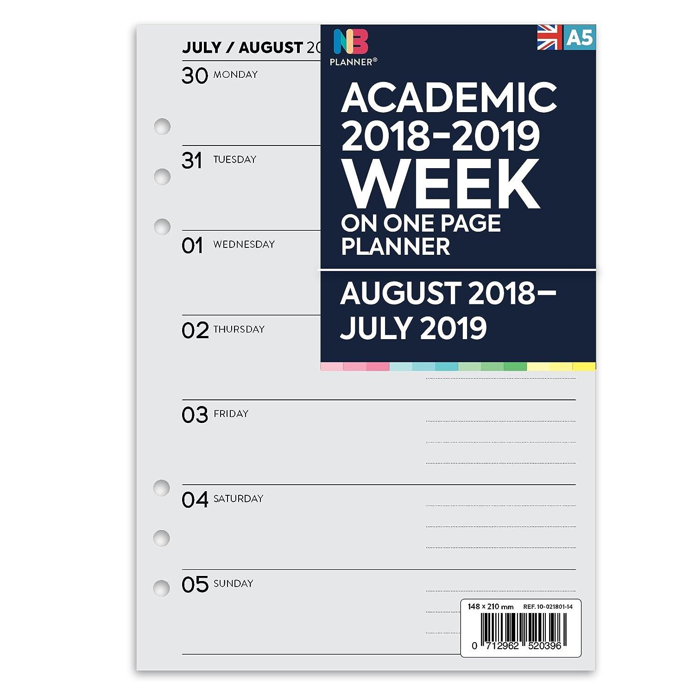 Agenda 2018-2019 de NBplanner®. Una semana por página, compatible con Filofax A5 (idioma español no garantizado)., color gris: Amazon.es: Oficina y ...