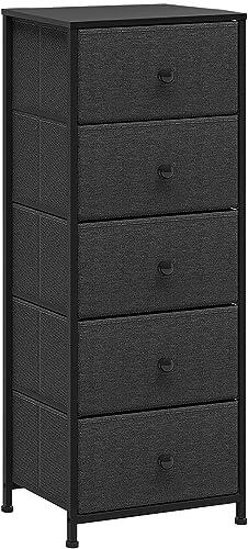 REAHOME 5-Drawer Dresser Storage Tower Unit Storage Vertical Sturdy Steel Frame Wooden Top Removable Fabric Bins