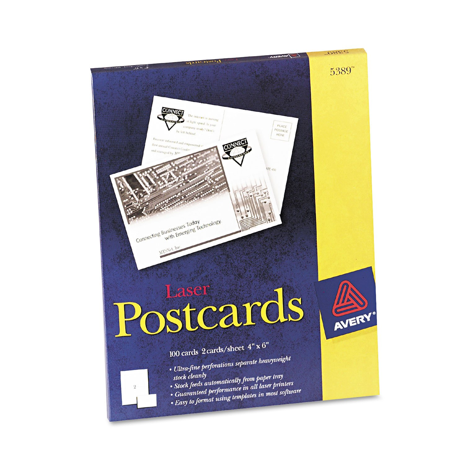 Avery 5389 Laser Postcards, Perforated, 4''x6'', 100/BX, White