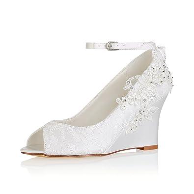 e65df2d95e062 Emily Bridal Lace Wedding Shoes Ivory Peep Toe Flowers Detail Wedge Shoes  Ankle Strap Bridal Shoes